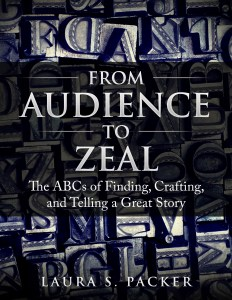 the cover of the audience to zeal book by laura packer. the title of the book is in the center imposed over a full page image of old fashioned printers blocks, some stained blue