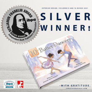 cover of 10 ballet dancers book and a graphic of the IBPA silver award