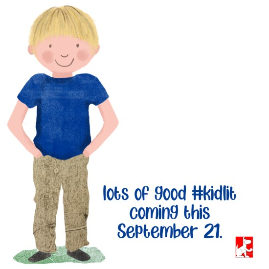 drawing of a child with blondel hair, blue shirt, tan pants standing with hands in pockets.