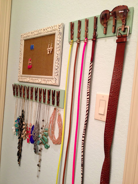 Repurposed Picture Frame for Earrings and Clothespin Hangers for Belts