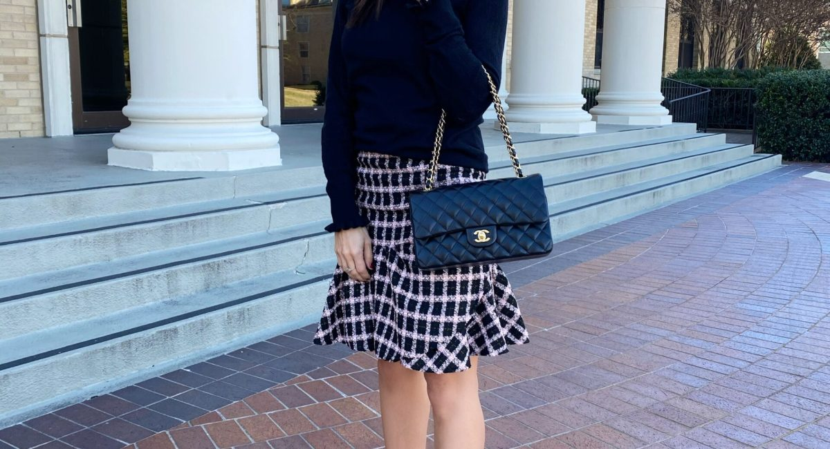 Pink & Black Tweed Skirt
