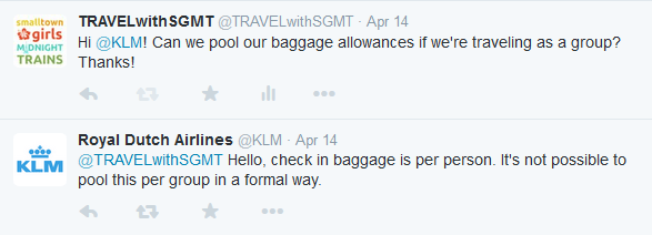 Can people traveling together pool their baggage allowance?