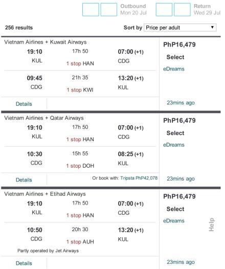 Cheap flights from Kuala Lumpur to Paris