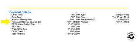 Cebu-Clark (domestic flight). Don't worry, the terminal fee isn't that expensive. That's already good for 5 people.
