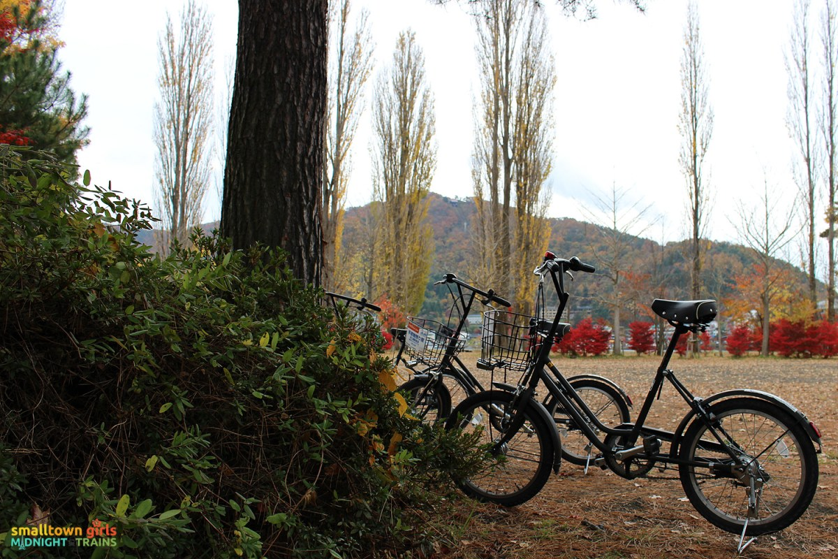 SGMT Japan Lake Kawaguchi 22 Fall foliage and parked bicycle