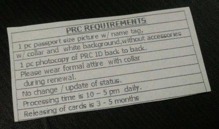 Requirements for PRC license renewal at SM City Cebu
