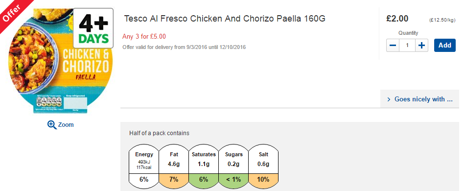 Tesco chicken and chorizo paella