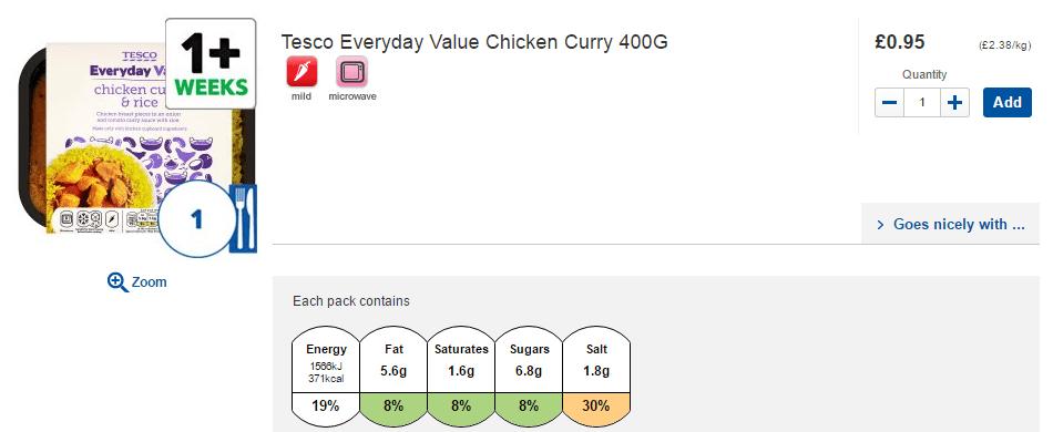 Tesco chicken curry