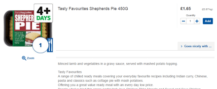 Tesco shepherds pie