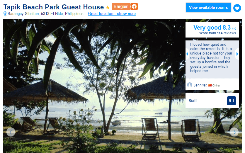 Where to stay in El Nido - Tapik Beach Park Guest House