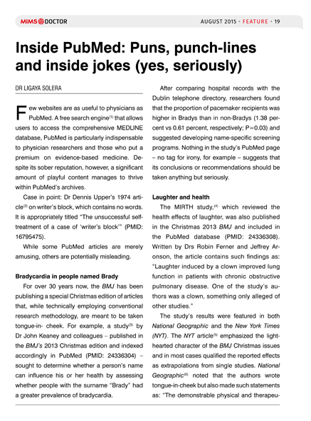 Inside PubMed: Puns, punch lines and inside jokes (yes, seriously)