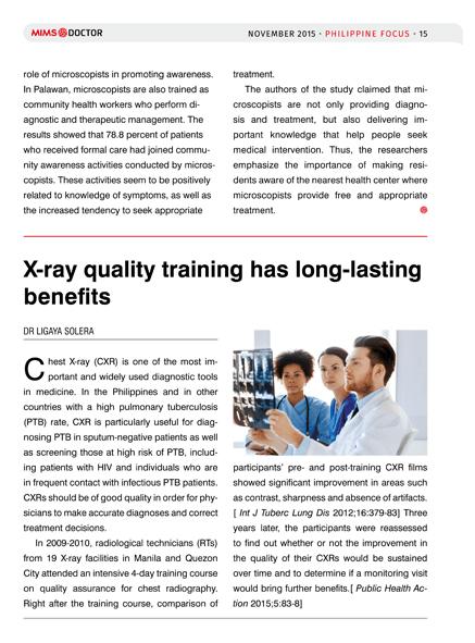 X-ray quality training has long-lasting benefits