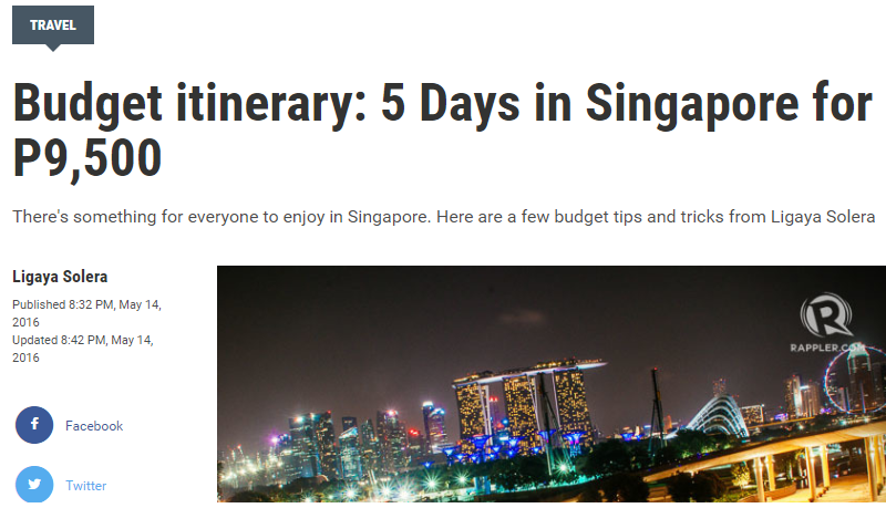 Budget itinerary: 5 Days in Singapore for P9,500