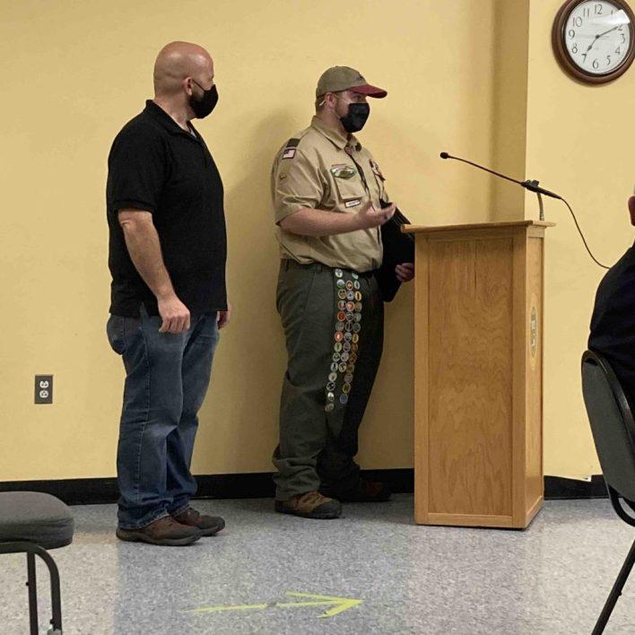 Noah Tellier presents $10,000 donation to ACO Kevin Sullivan