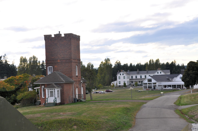 View of Alexander's Castle and military housing at Fort Worden.