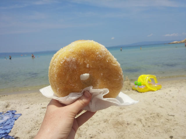 Donuts at the beach in Greece.