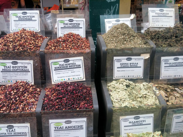 Spices at the market in Thessaloniki, Greece.