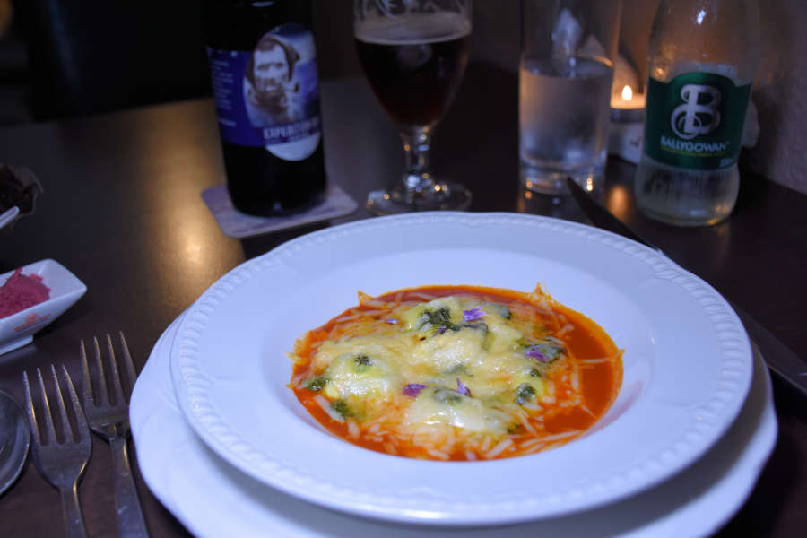 Ravioli and tomato fondue at Tom Crean Fish & Wine & Accommodation in Kenmare, Ireland.