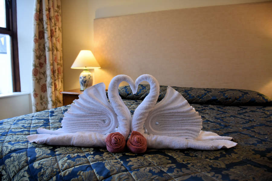 Swan towels at Tom Crean Fish & Wine & Accommodation in Kenmare, Ireland.