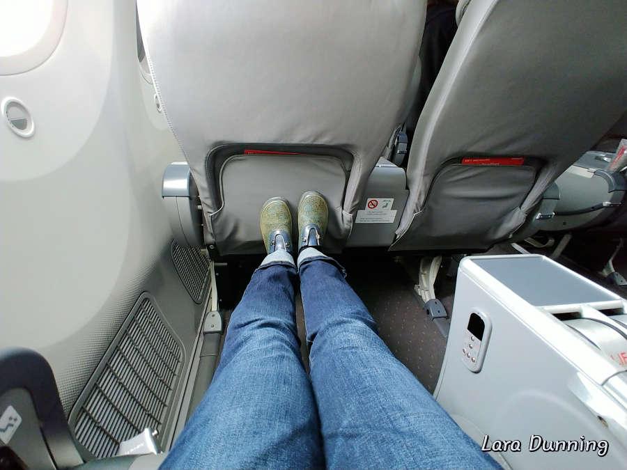 Plenty of leg room in premium seating on Norwegian Airlines.
