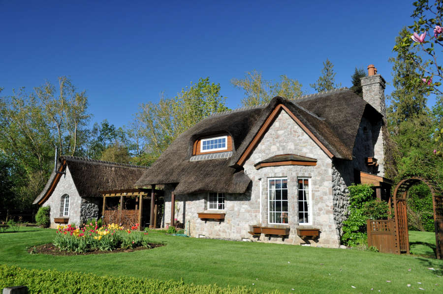The thatch roofed house in Lynden, Washington.