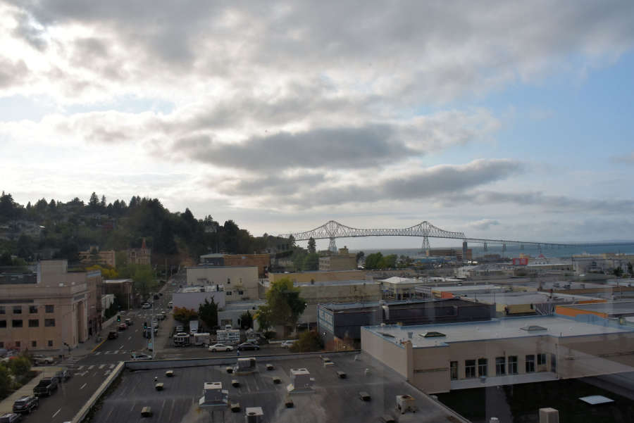 Rooftop terrace at the Hotel Elliot in Astoria, Oregon.