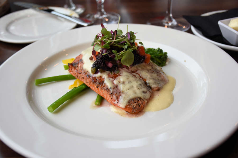 Salmon with berries at 13moons in Anacortes, Washington.