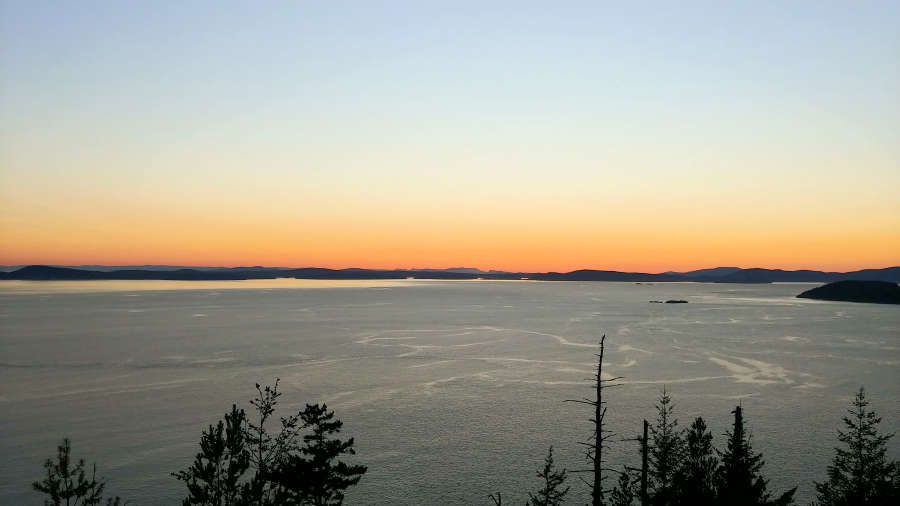 Sunset at Sears Head Overlook in Anacortes.