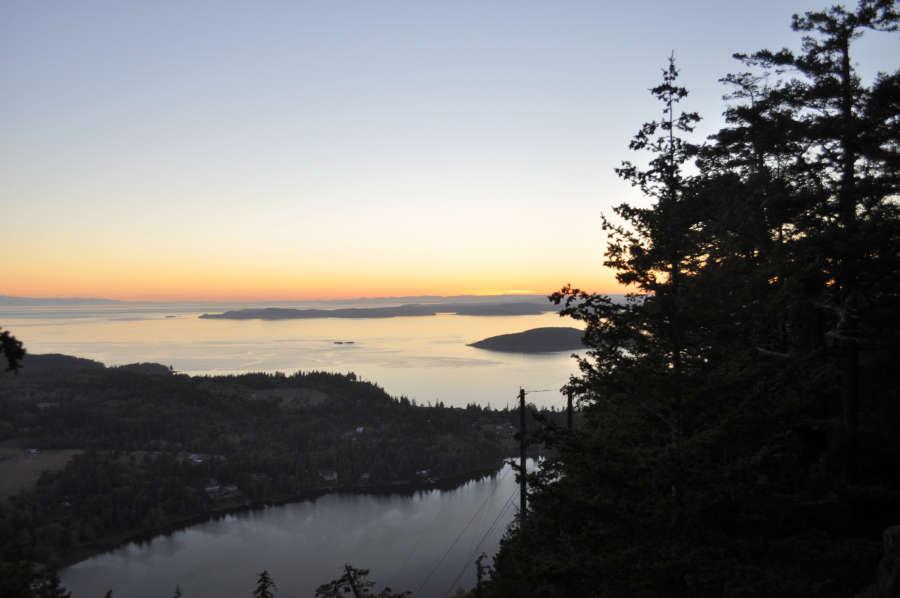 Sunset at Mt. Erie in Anacortes, Washington.