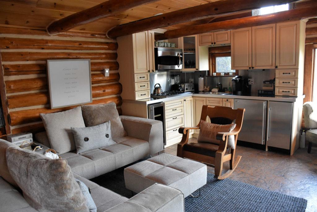 The kitchen at the lakeside cabin near Seattle in Medina, Washington.