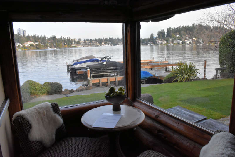 The dining nook at the lakeside cabin near Seattle in Medina, Washington.