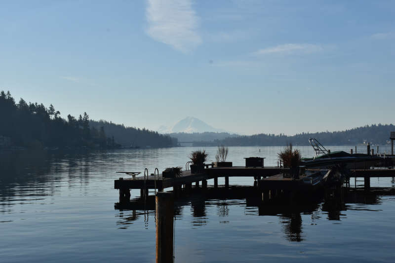 View of Mt. Rainier from the docks at the lakeside cabin near Seattle.
