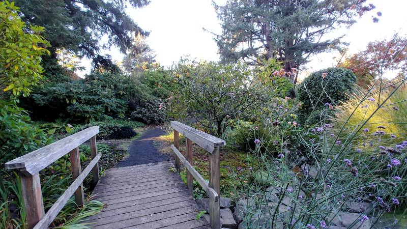 Walking path at the  Connie Hansen Garden in Lincoln City, Oregon.