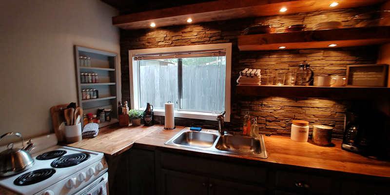 The kitchen at Millard's Cabin in Packwood, Washington.