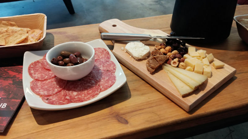 A cheese and meat board at Cinder in Garden City, Idaho.