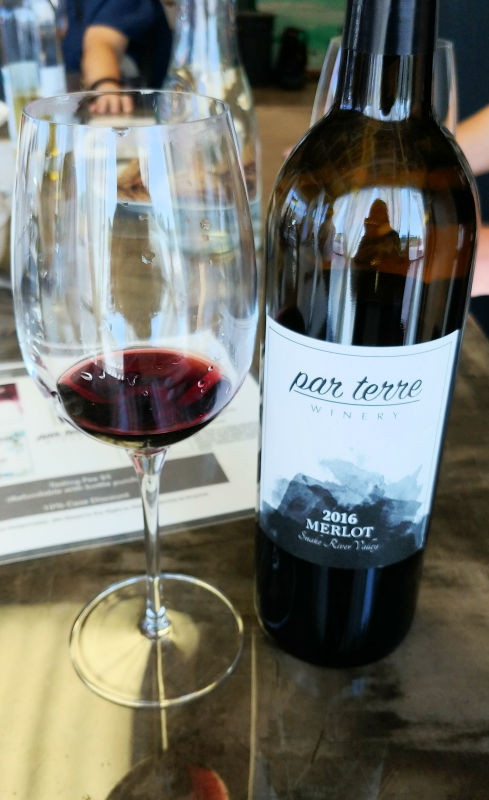 A glass of Merlot at Par Terre Winery in Garden City, Idaho.