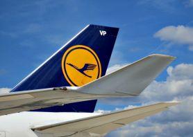 Lufthansa logo on plane fin.