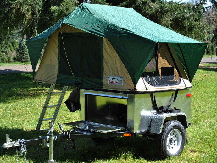 The open-sided concept to the Utilitarian gives it the versatility of being a tent-topped c&er one weekend or a trailer for hauling ... & tent camper | The Small Trailer Enthusiast