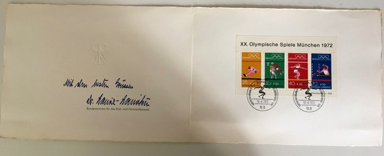 Olympic Games 1972 - signed note from Minister for postal and telecommunications