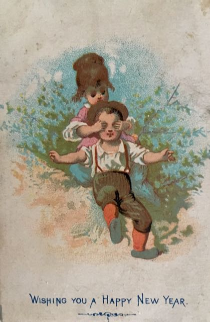 Wishing you a Happy New Year. illustration of girl behind boy, having put her hands on his eyes so that he has to guess who it might be