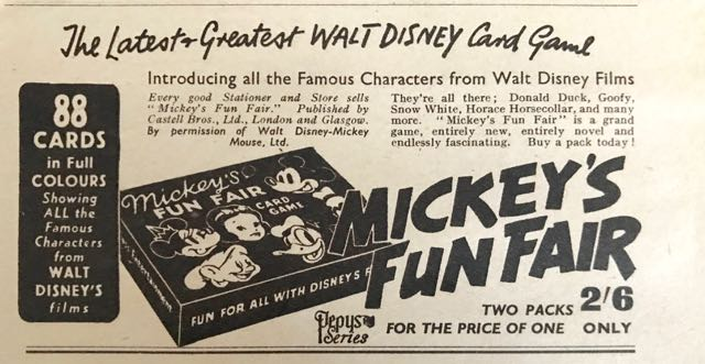 Black and white newswpaper Advert for Mickey's Fun Fair - a card game with 2 sets of cards