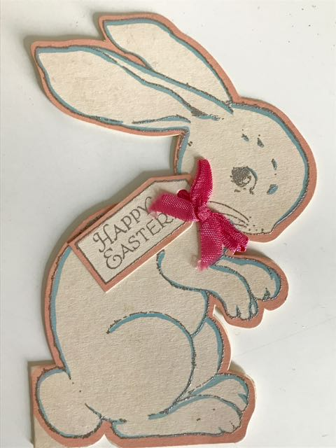 Early 1900s greeting card in form of a sitting rabbit with tag reading 'Happy Easter'