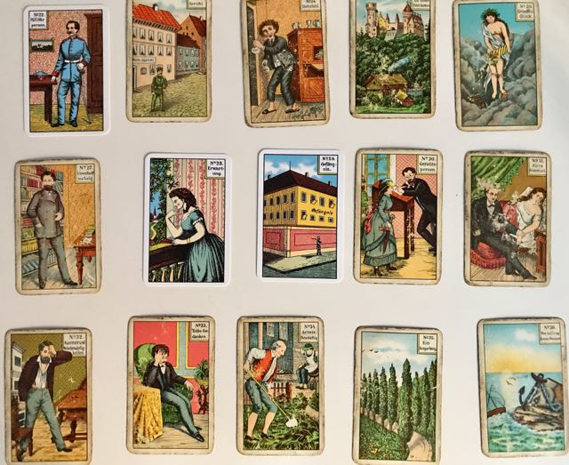 image of 15 Kipper cards (Divination cards) showing people in various situations or landscapes