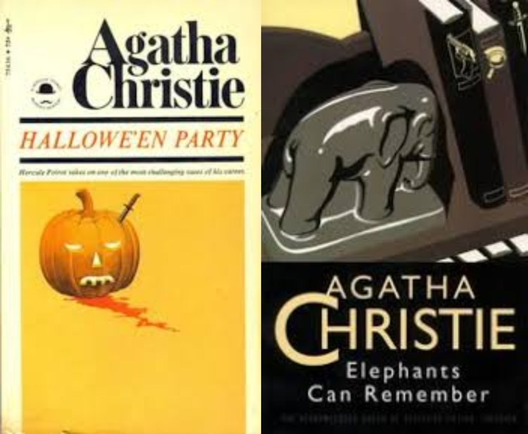 covers of 2 Agatha Christie titles: Halloween and Elephants Can Remember