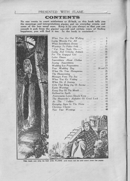 content page of leaflet on Superstitions from 1935 - with drawing of an owl in the woods at night and elderly woman in front of a caravan