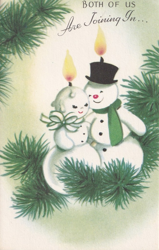 1950s Rust Craft card depicting anthropomorphic snowman and wife as candles on fir branch