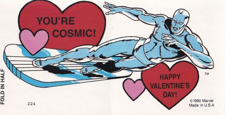 1990s Valentine's card with Silver Surfer saying You're cosmic