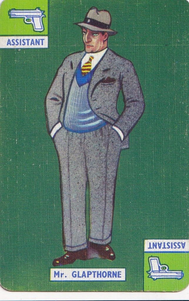 vintage playing card with drawing of Mr Glapthorne , man in a suit