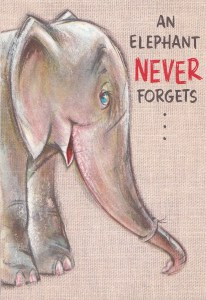 cover of vintage belated birthday card - drawing of an elephant