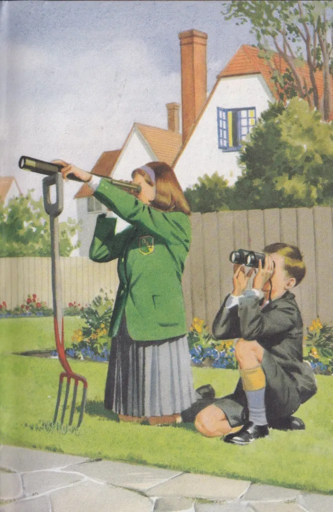 illustration of a girl and a boy in school uniforms of the 1960s using a telescope and binoculars to look at the sky. Presumably from their front garden, as there is a house in the background.